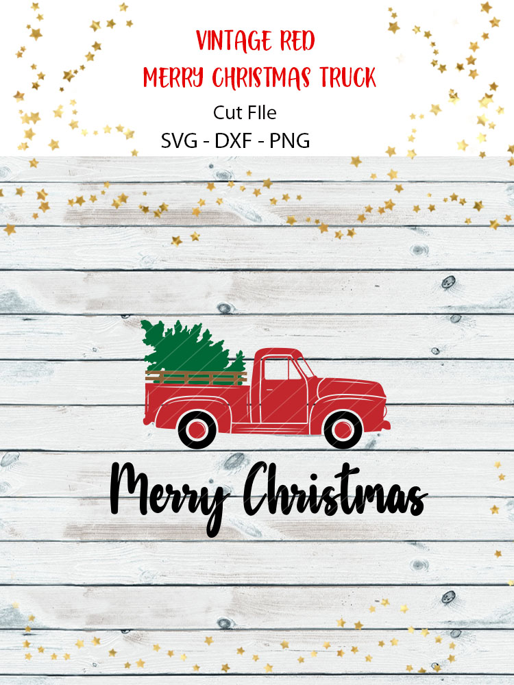 Vintage Red Merry Christmas Truck SVG example image 2