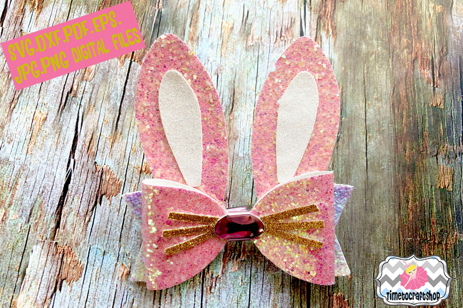 Easter Bunny Ears Hair Bow Template Example Image 1