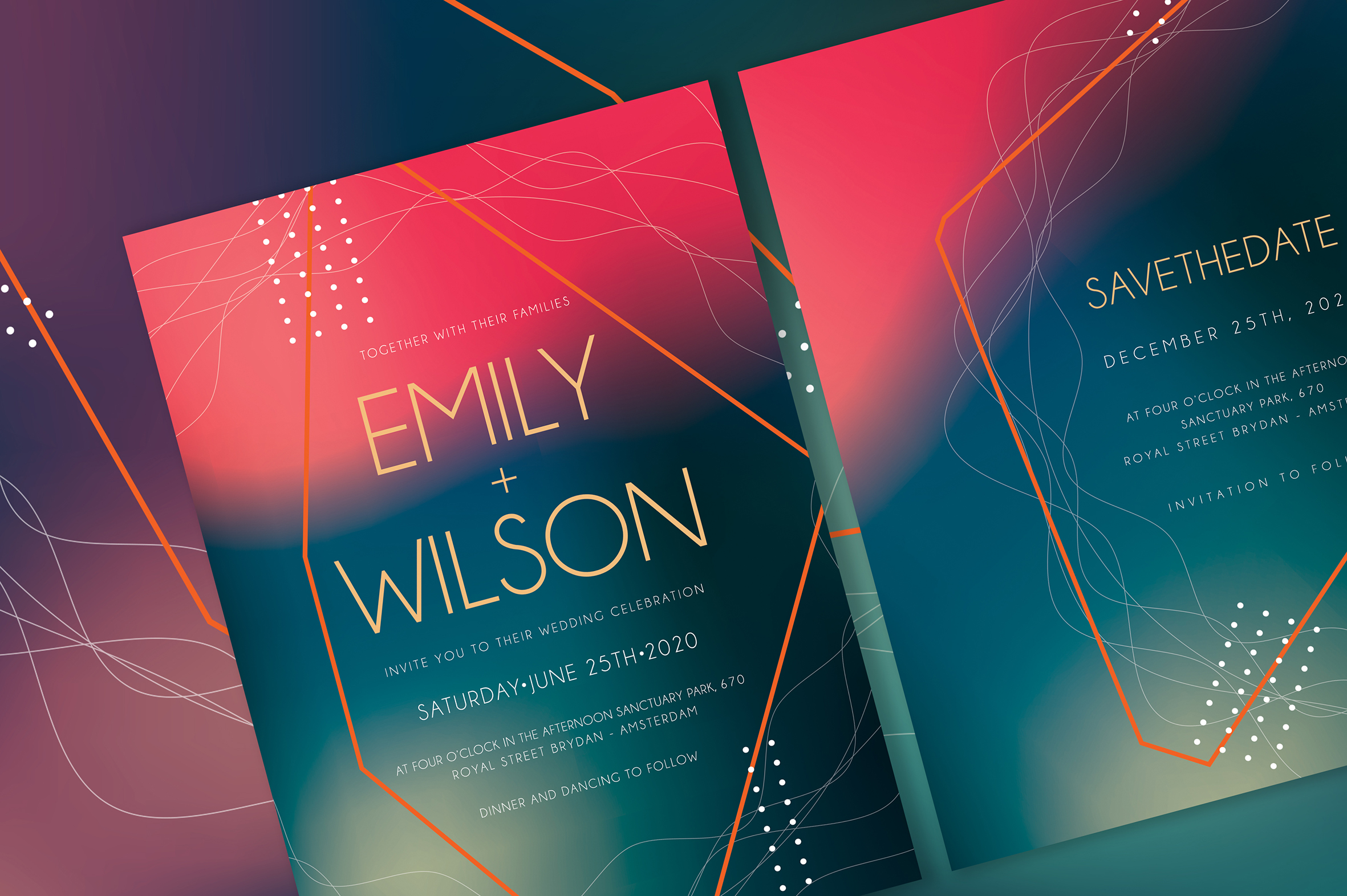 Abstract Wedding Invitation Suite example image 2