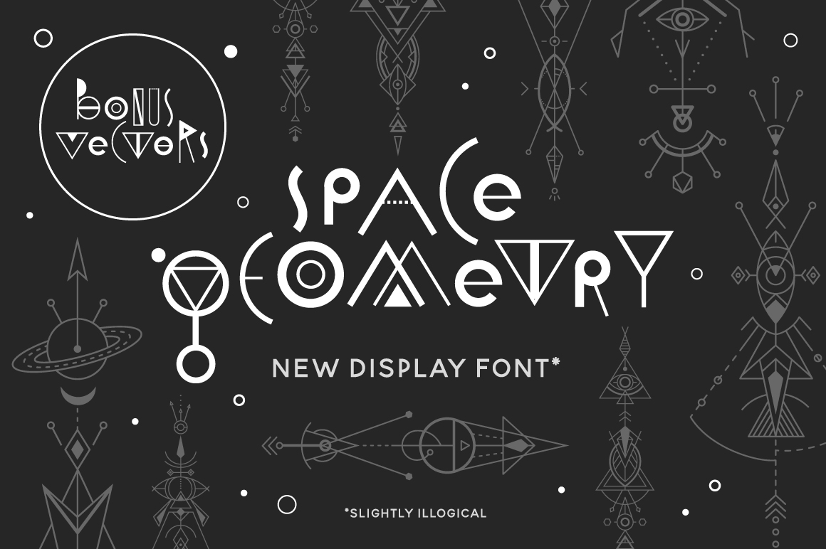 Space Geometry Font + Vector Bonuses example image 1