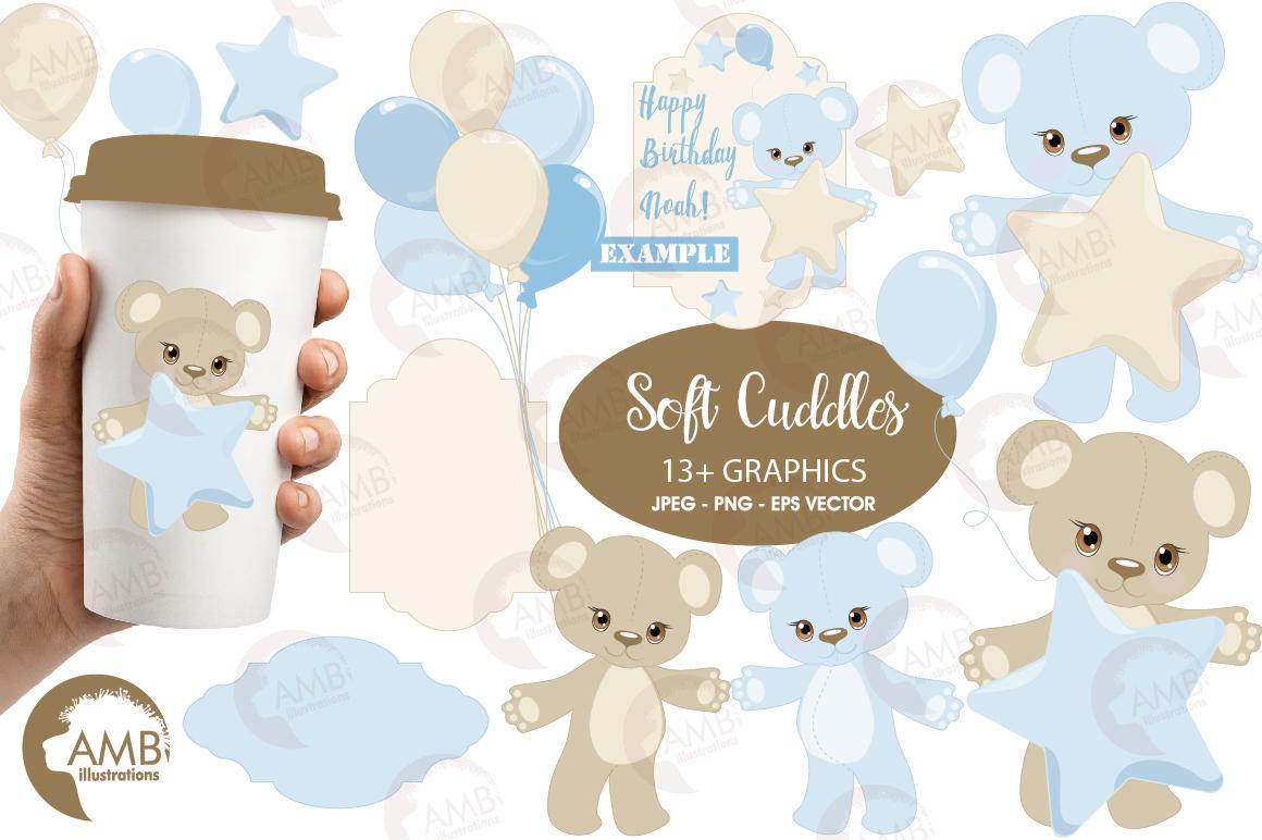 Teddy bear, nursery, baby boy, baby blue bear, clipart, graphics, llustrations AMB-1460 example image 1