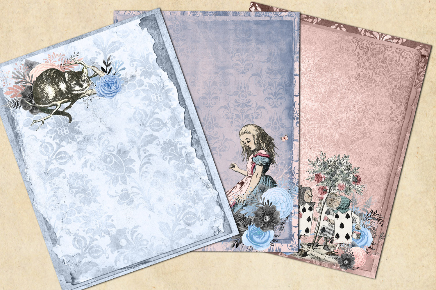 Dusty Blue and Blush Pink Alice in Wonderland Journal Paper example image 3