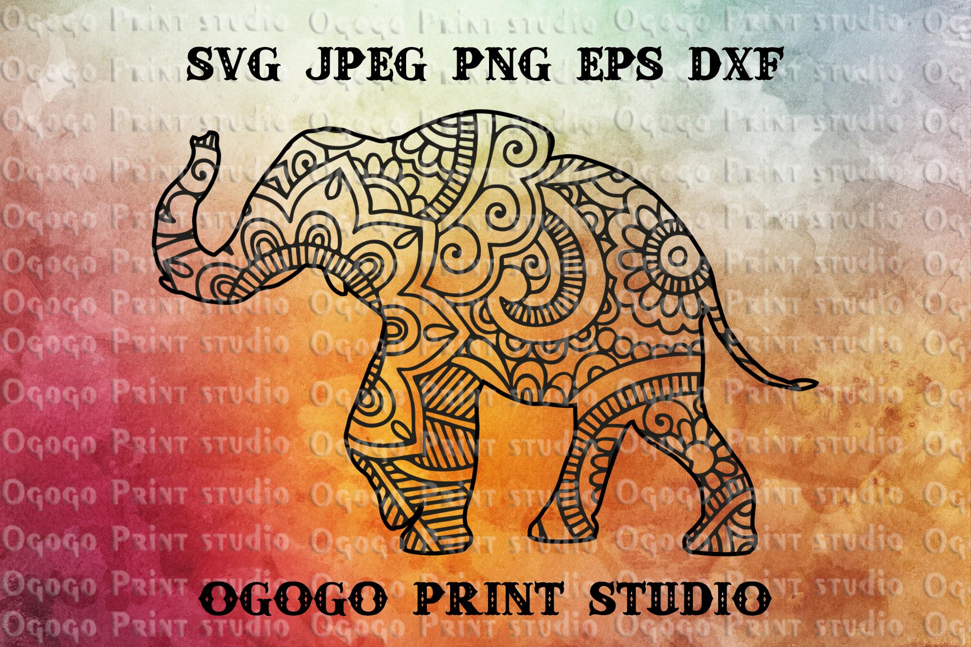 Mandala style Elephant SVG, Zentangle SVG, India svg example image 1