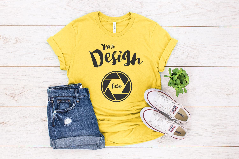 Yellow Canvas 3001 T Shirt Mockup example image 1