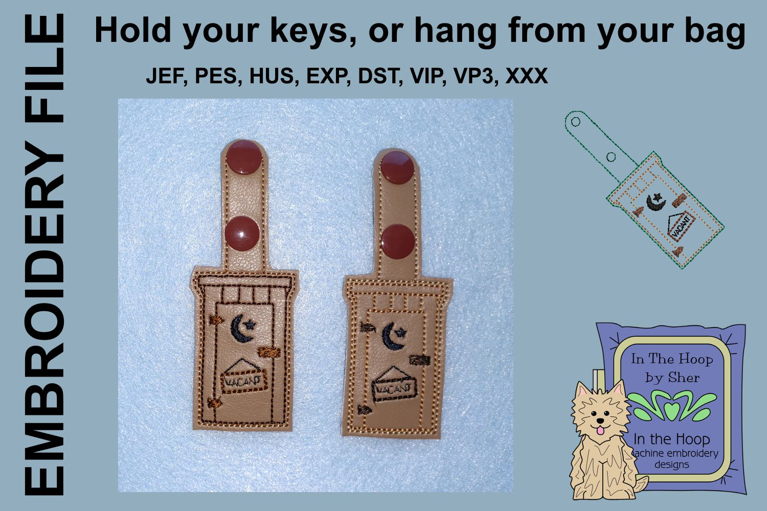 ITH Outhouse Key Fob - Embroidery Design example image 2