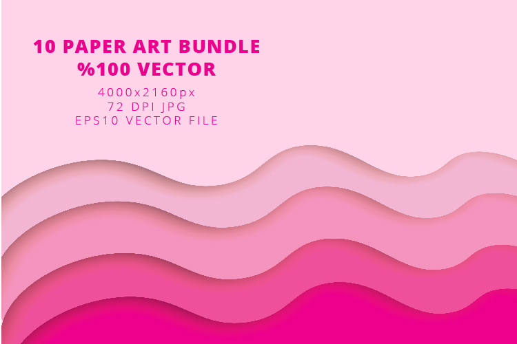 10 Paper Art Design Bundle - Backgrounds - Jpg and Vector example image 3