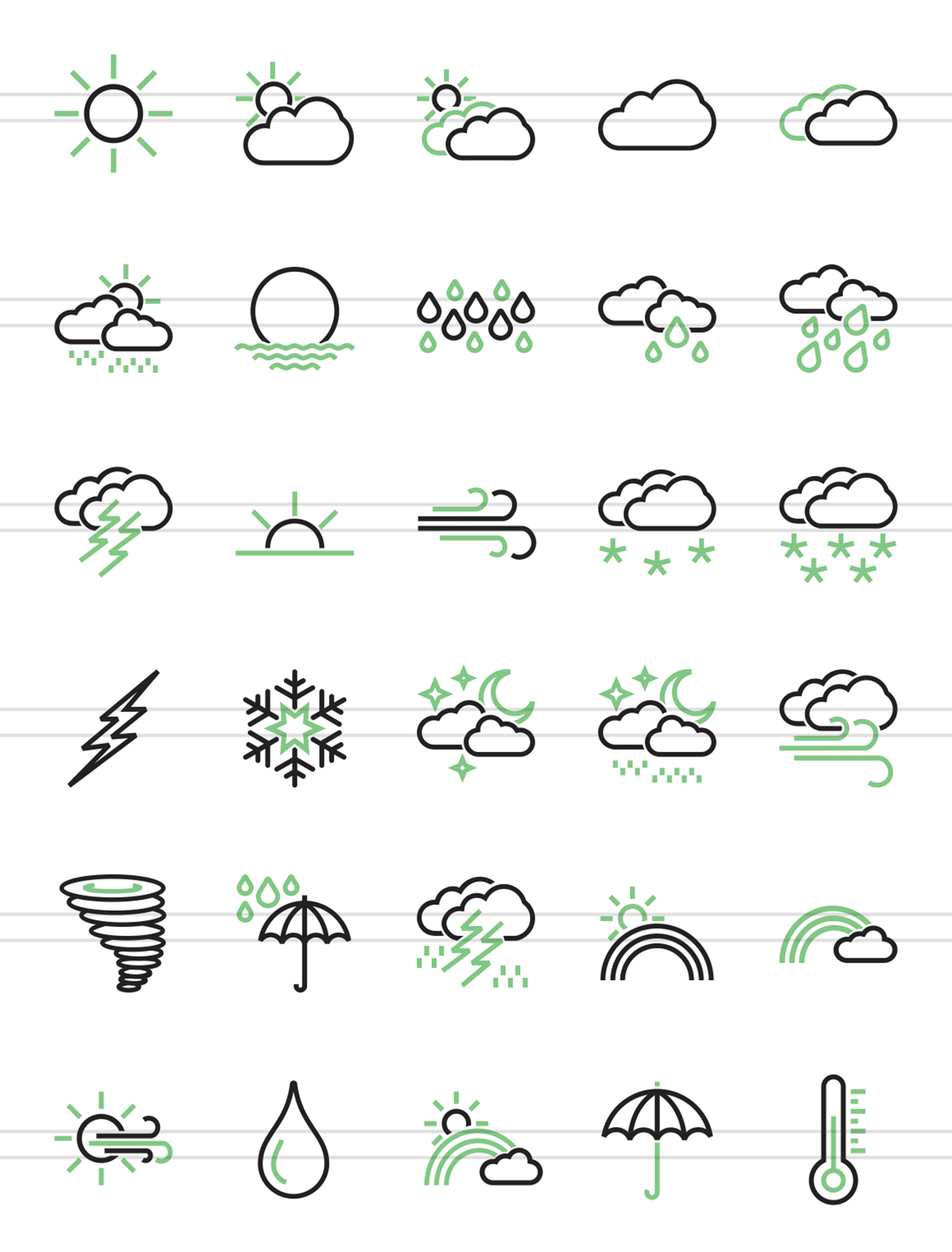 30 Weather Line Green & Black Icons example image 2