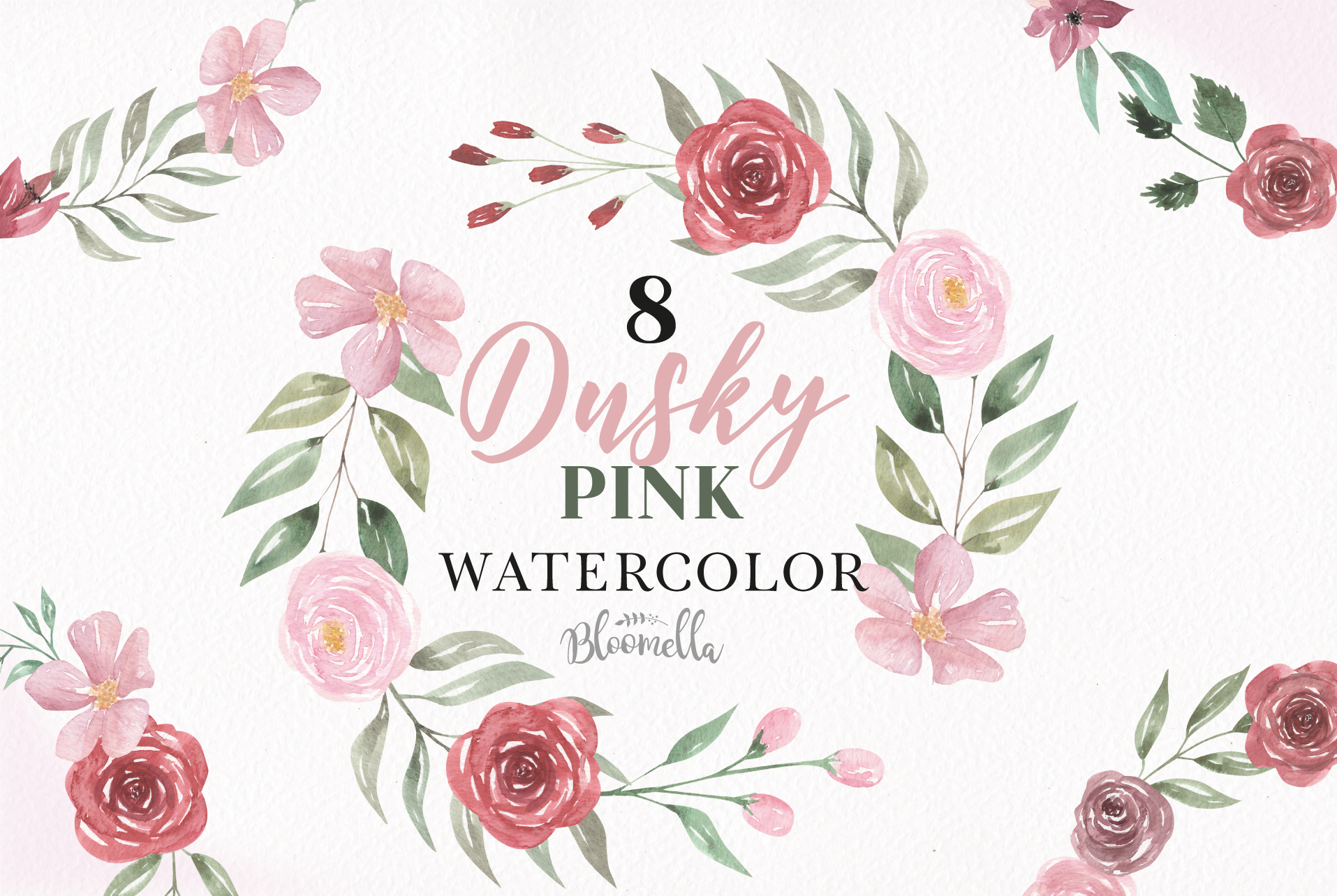 Dusky Pink Roses Watercolor Floral Wreaths 8 Flower Wedding example image 1