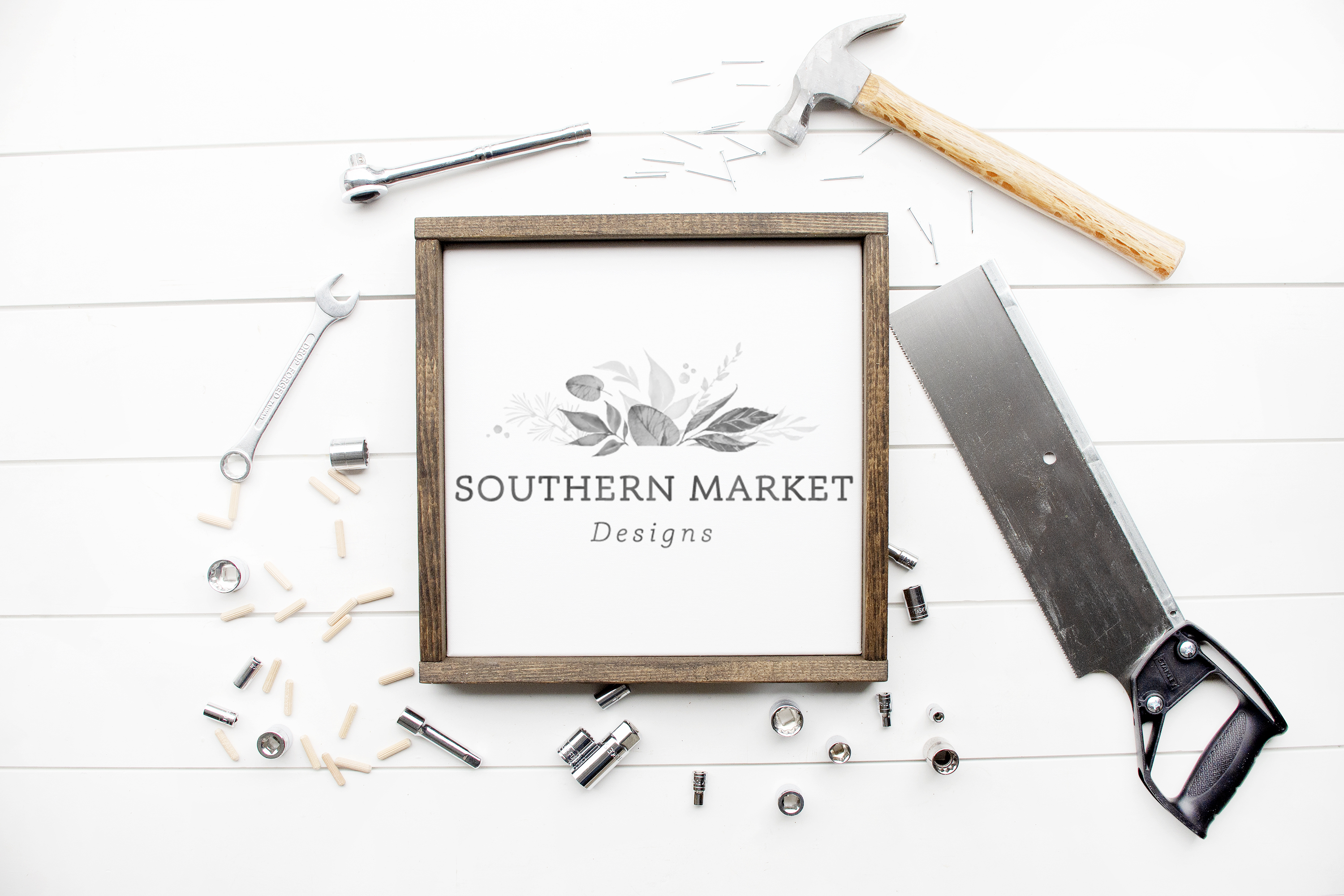 12x12 Wood Framed Sign Mock Up Tool Styled Photography example image 1