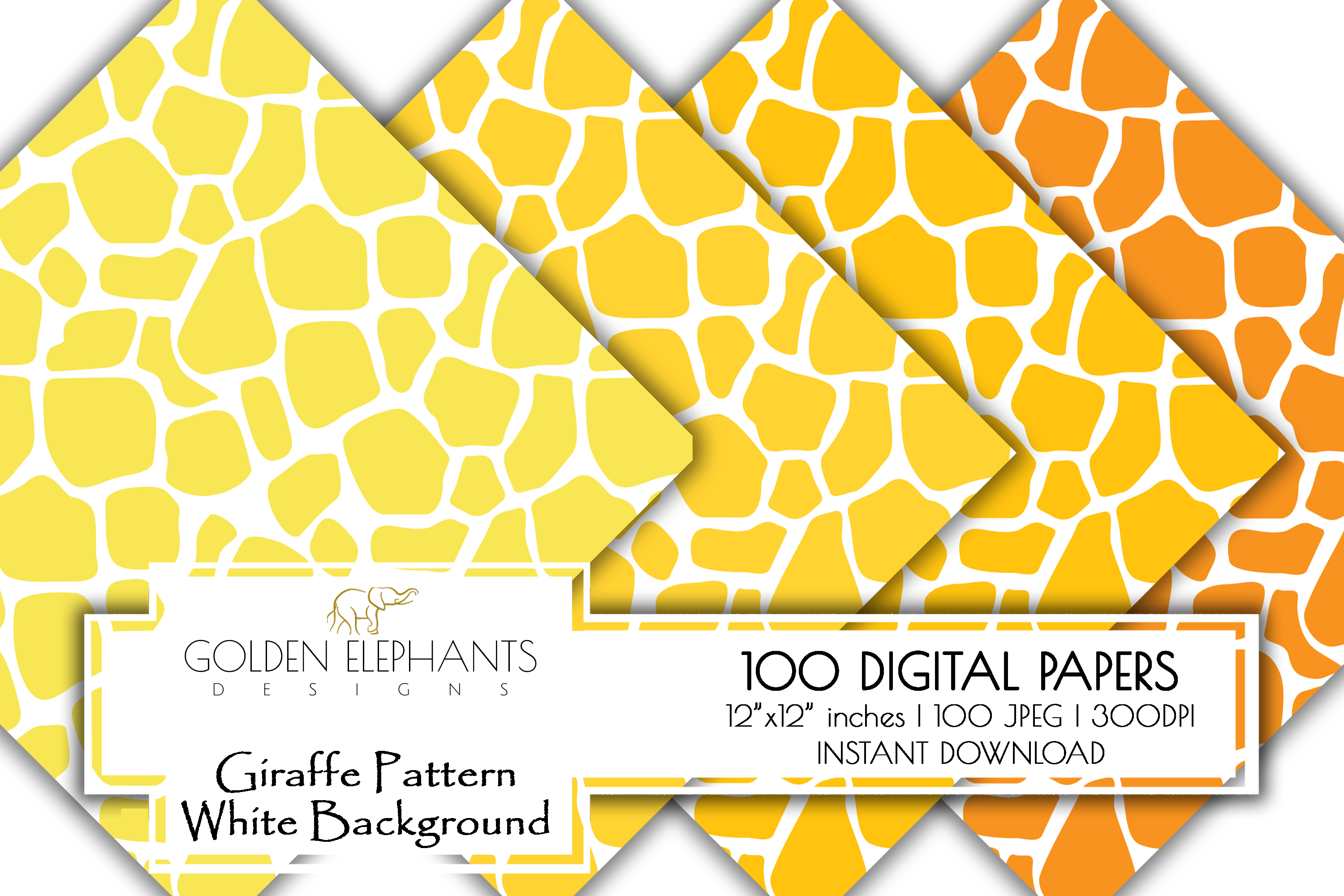 100 Giraffe Pattern w/ White Background Digital Paper example image 3