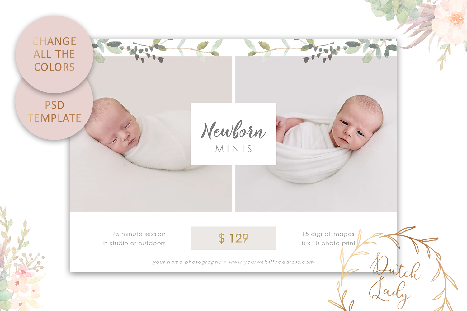 PSD Easter Photo Session Card Template - Design #50 example image 4