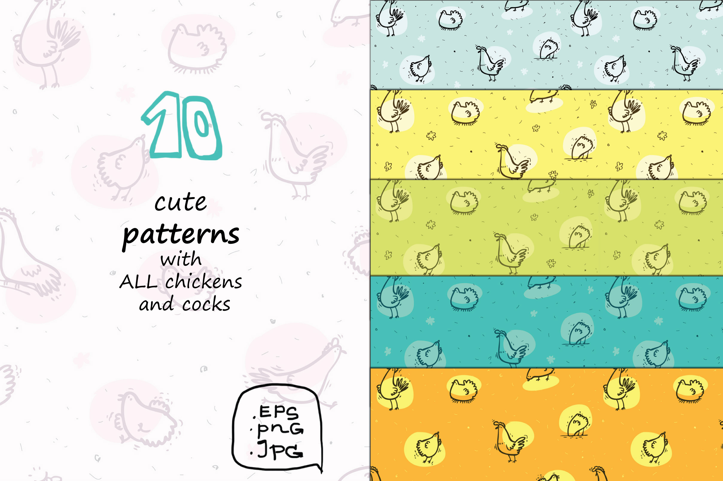 Wise Hens - 32 patterns, prints example image 3