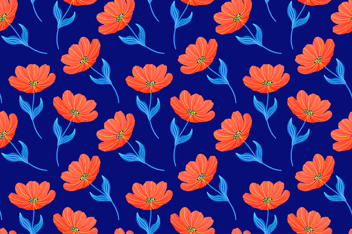 Spring tulips. Seamless patterns. example image 2