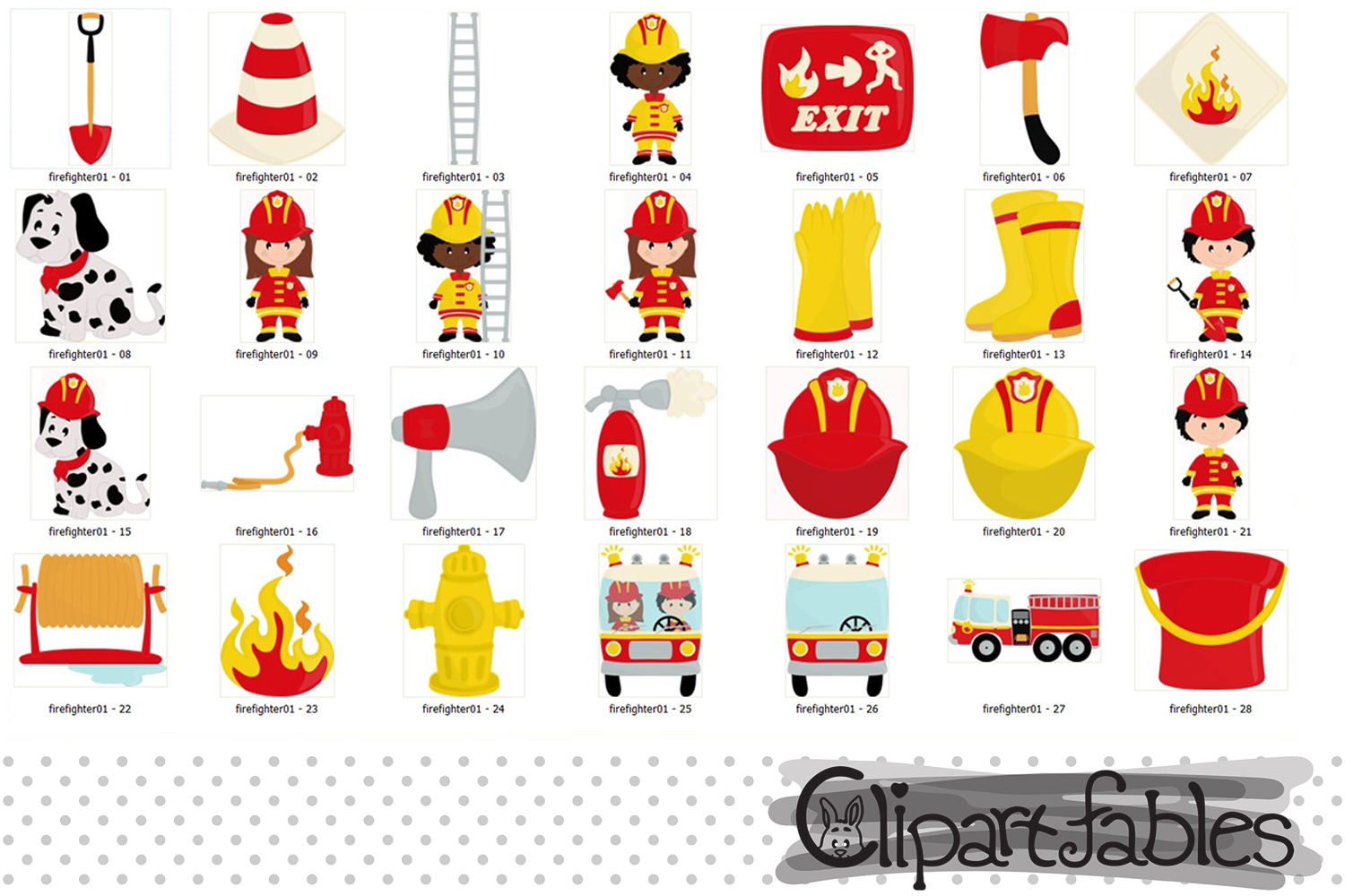 FIREFIGHTER clip art, Fire truck clip art - INSTANT download example image 2