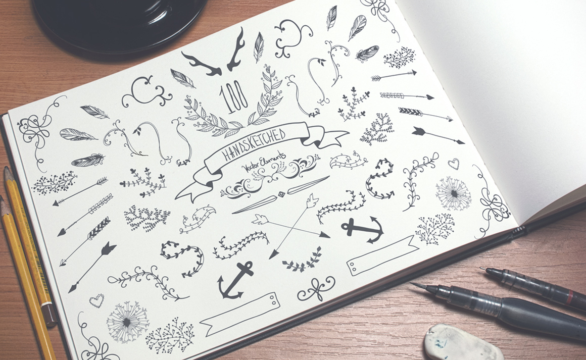 100 HandSketched Vector Elements example image 4