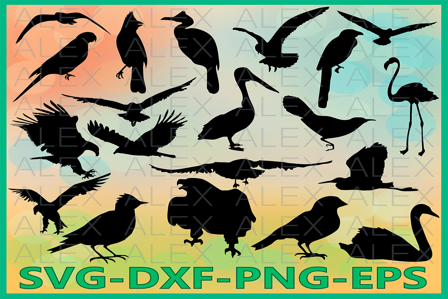 Birds Silhouettes, Silhouette Digital Clipart example image 1