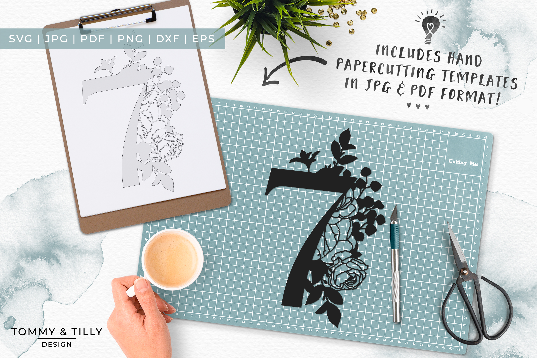 7 Floral Bouquet Number Design - Paper Cut SVG EPS DXF PNG example image 7