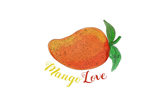 Mango Love Fruit Watercolor Mandala  example image 1