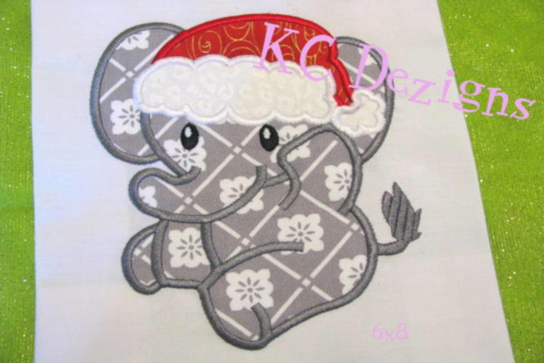 Christmas Baby Elephant Machine Applique Embroidery Design example image 2