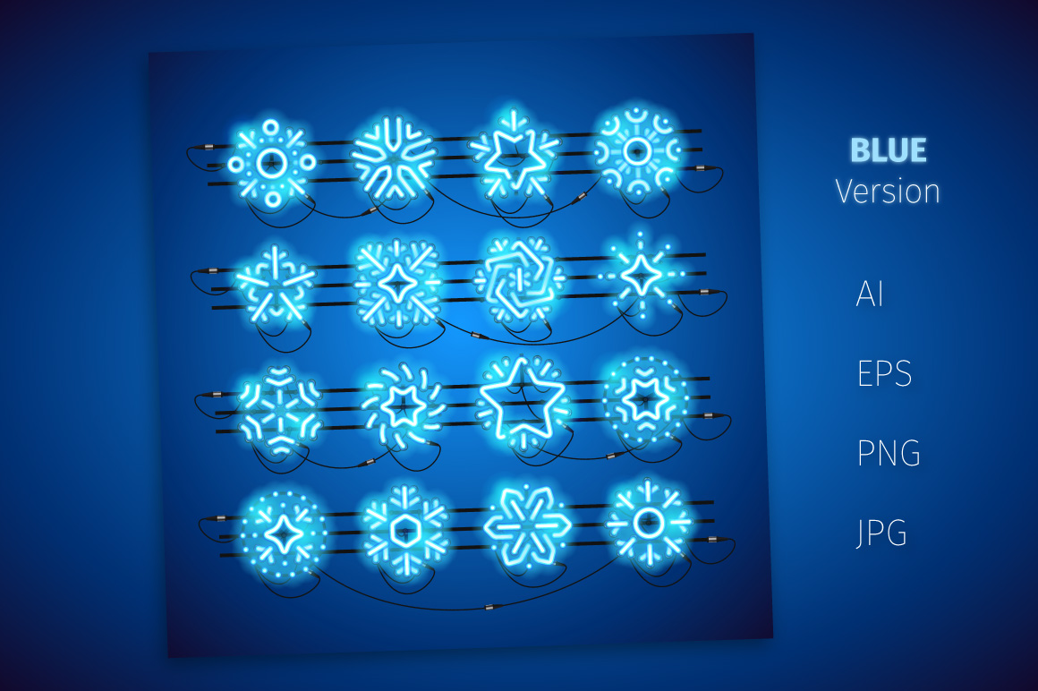 Christmas Colorful Neon Snowflakes example image 2
