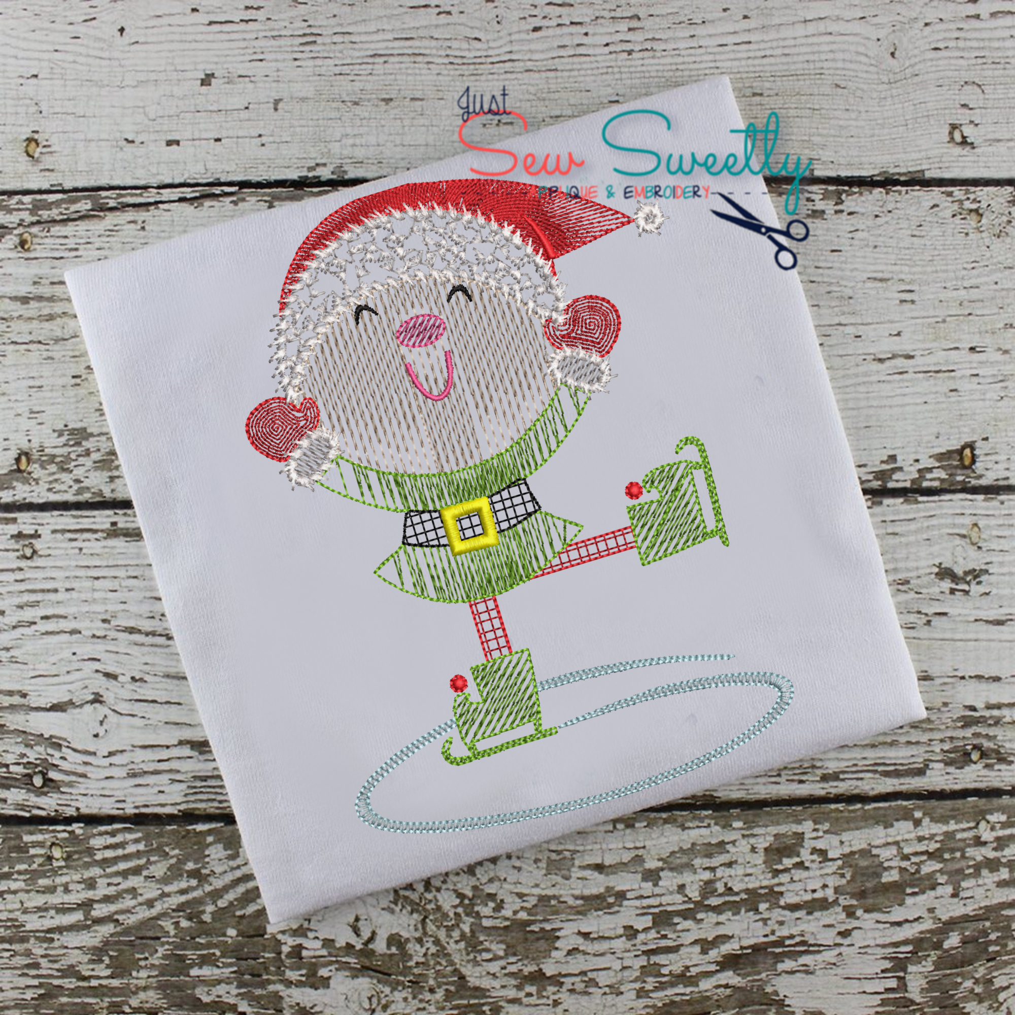 Christmas Elf Sketch Applique Embroidery Design example image 2