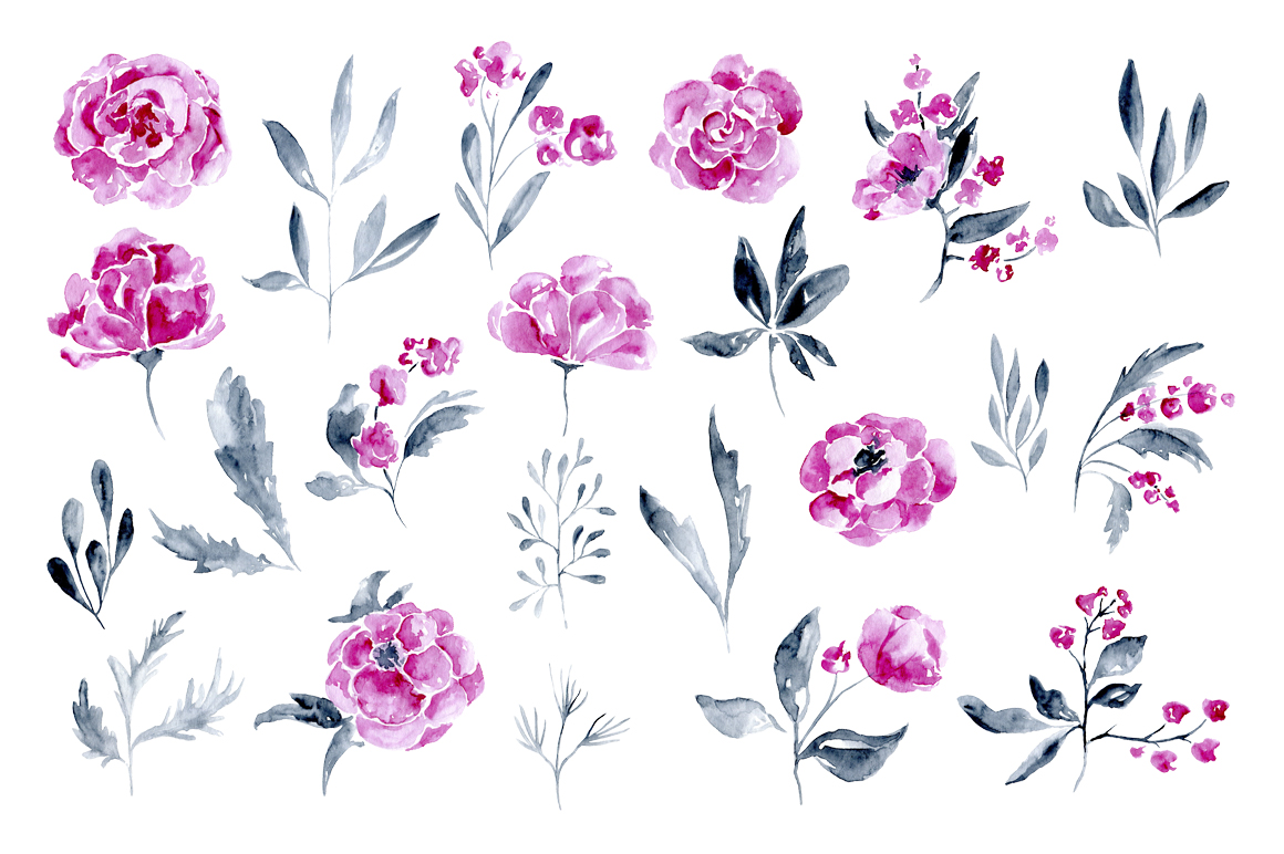 22 watercolor flowers: roses, peony example image 2