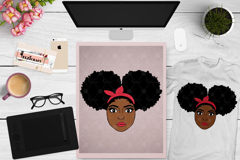 Afro Girl, Afro Puff, Headband, Bandanda SVG Cut File example image 1