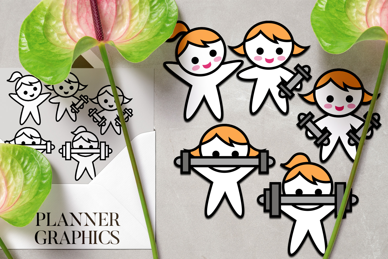 Hobby illustrations bundle - planner sticker graphics example image 6