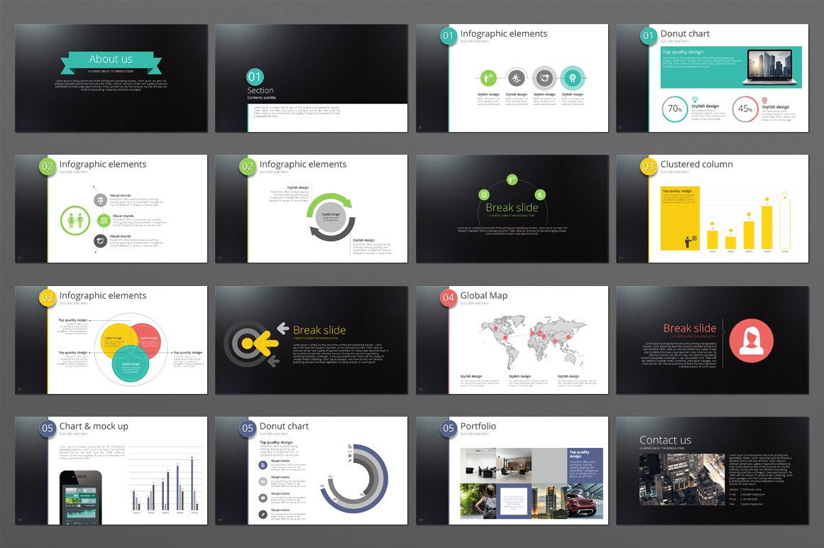 Five Color Powerpoint Template example image 2