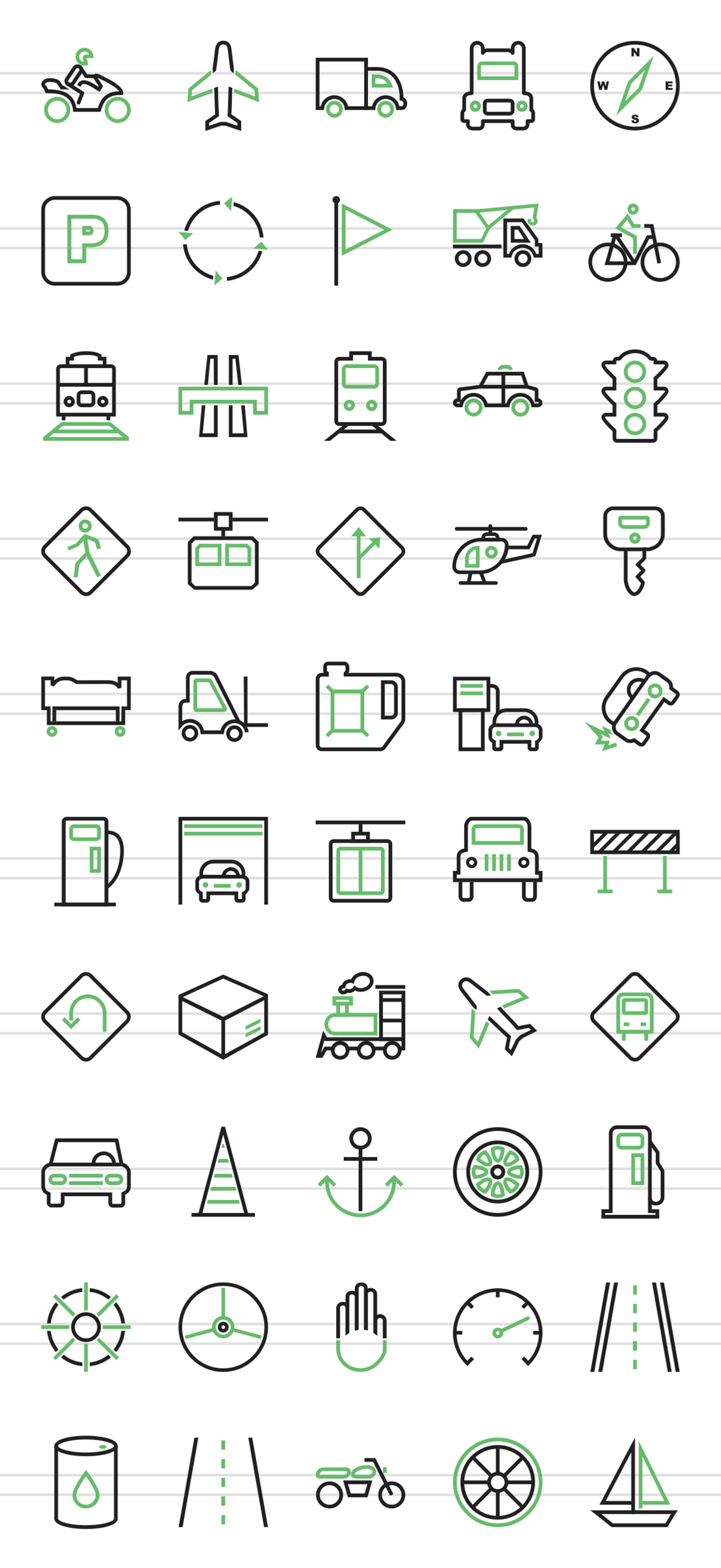 50 Transportation Line Green & Black Icons example image 2