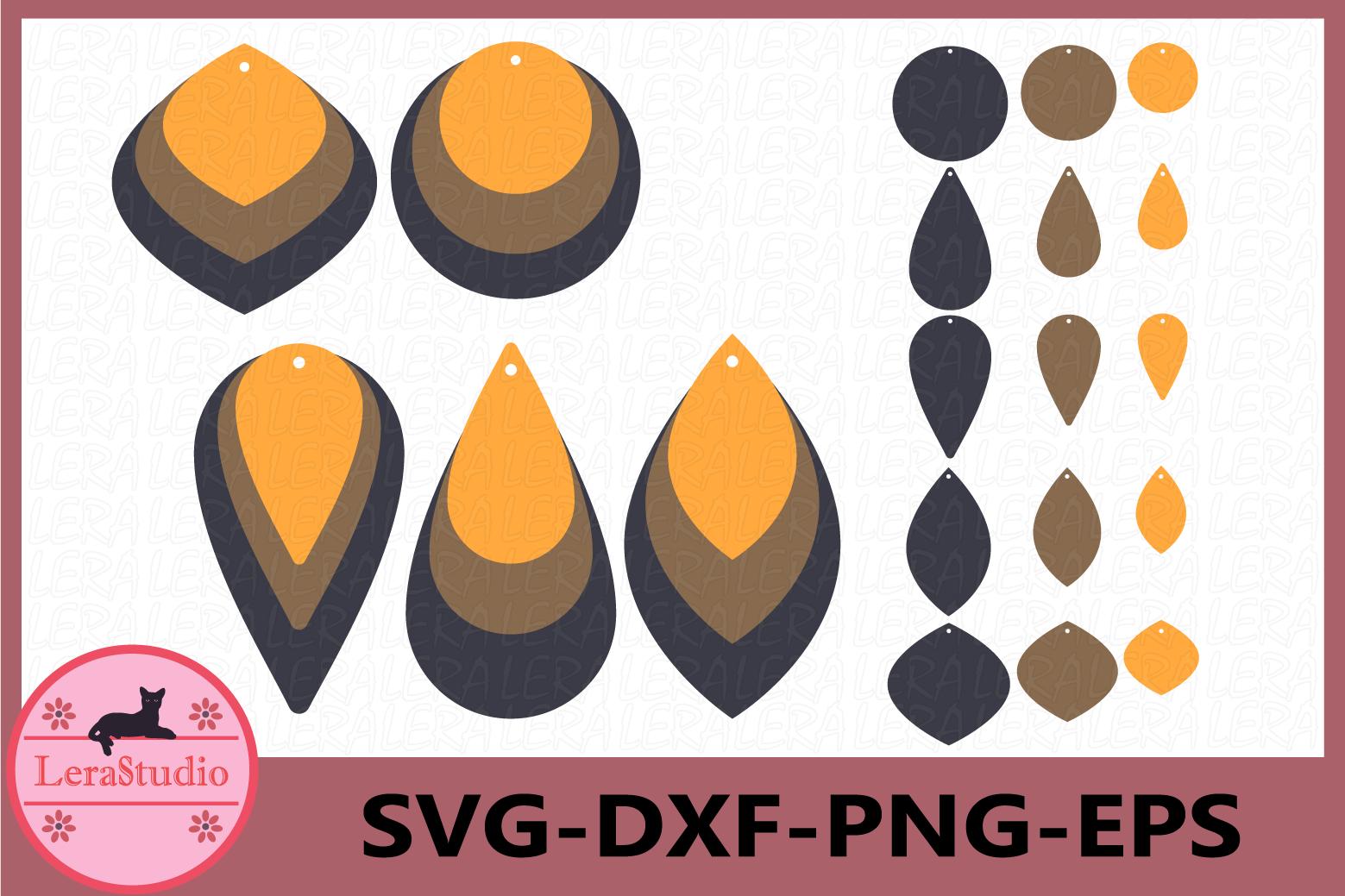 Leather Earrings Svg, Earrings SVG, Teardrop Earrings example image 1