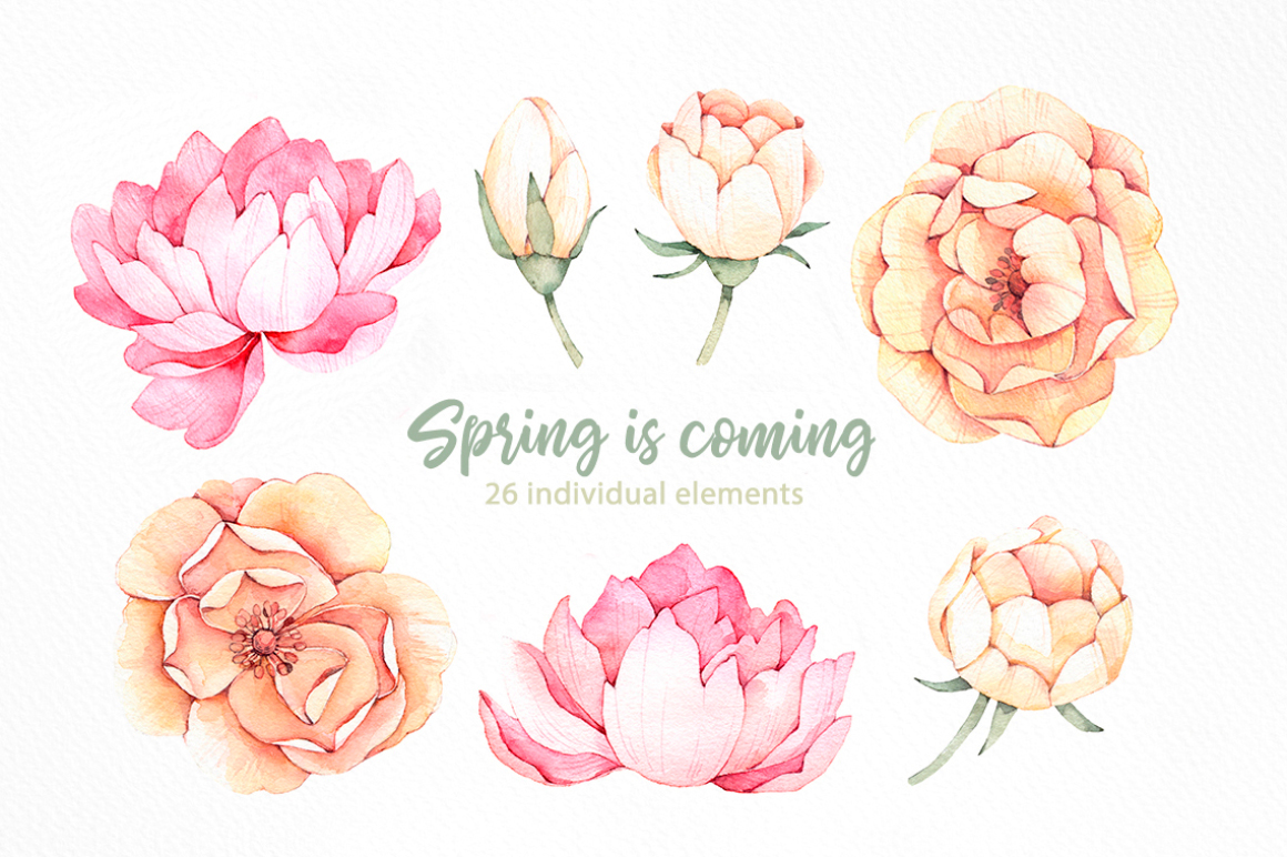 Spring is coming. Watercolor set example image 2