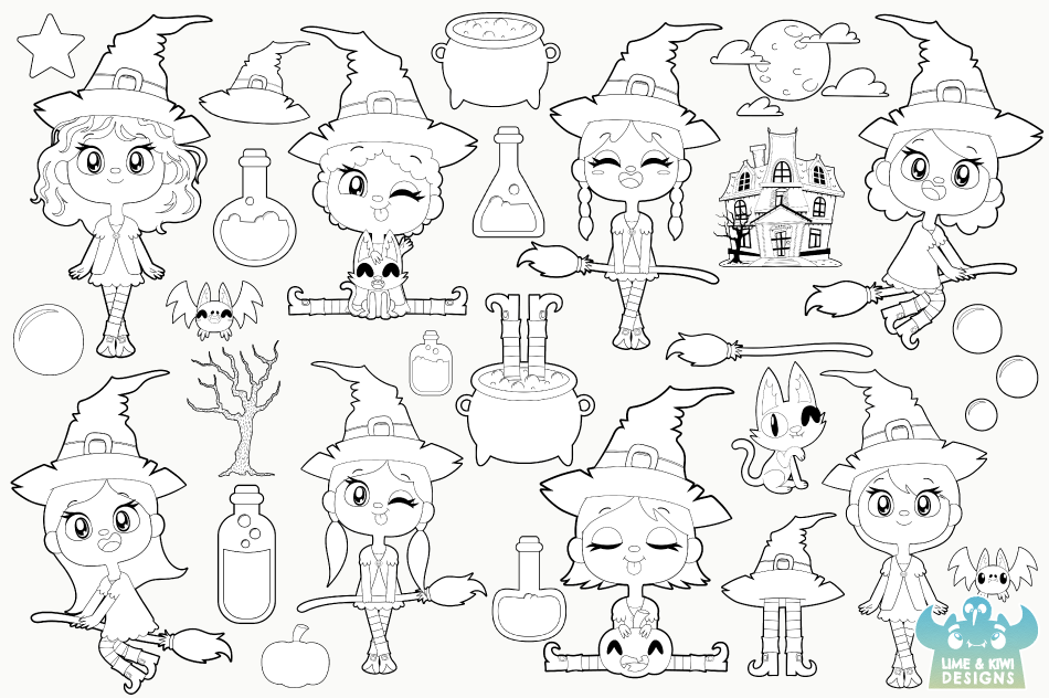 Wicked Witches Digital Stamps, Instant Download Vector Art example image 2