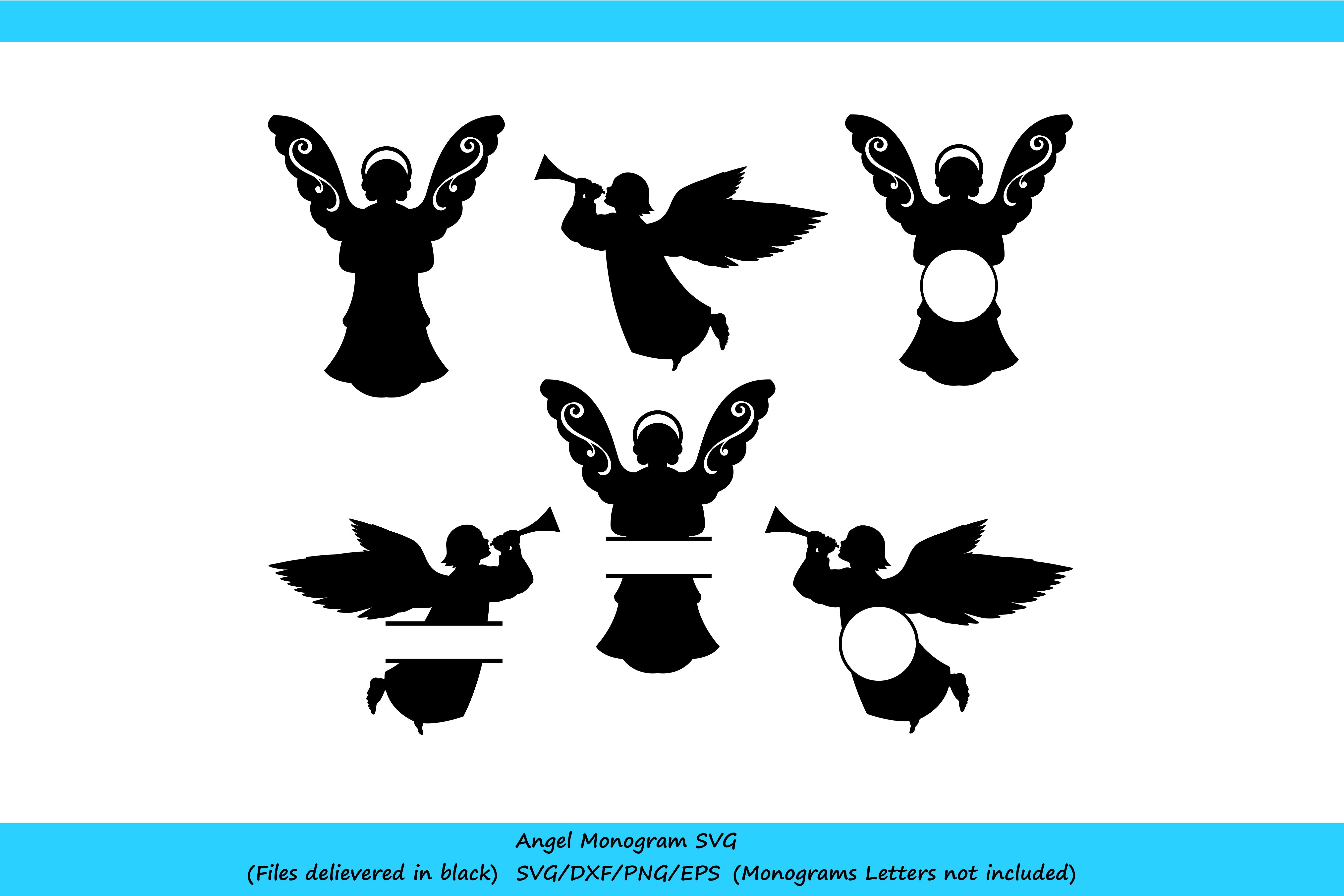 Angel SVG File   Silhouette Monogram Angels example image 2