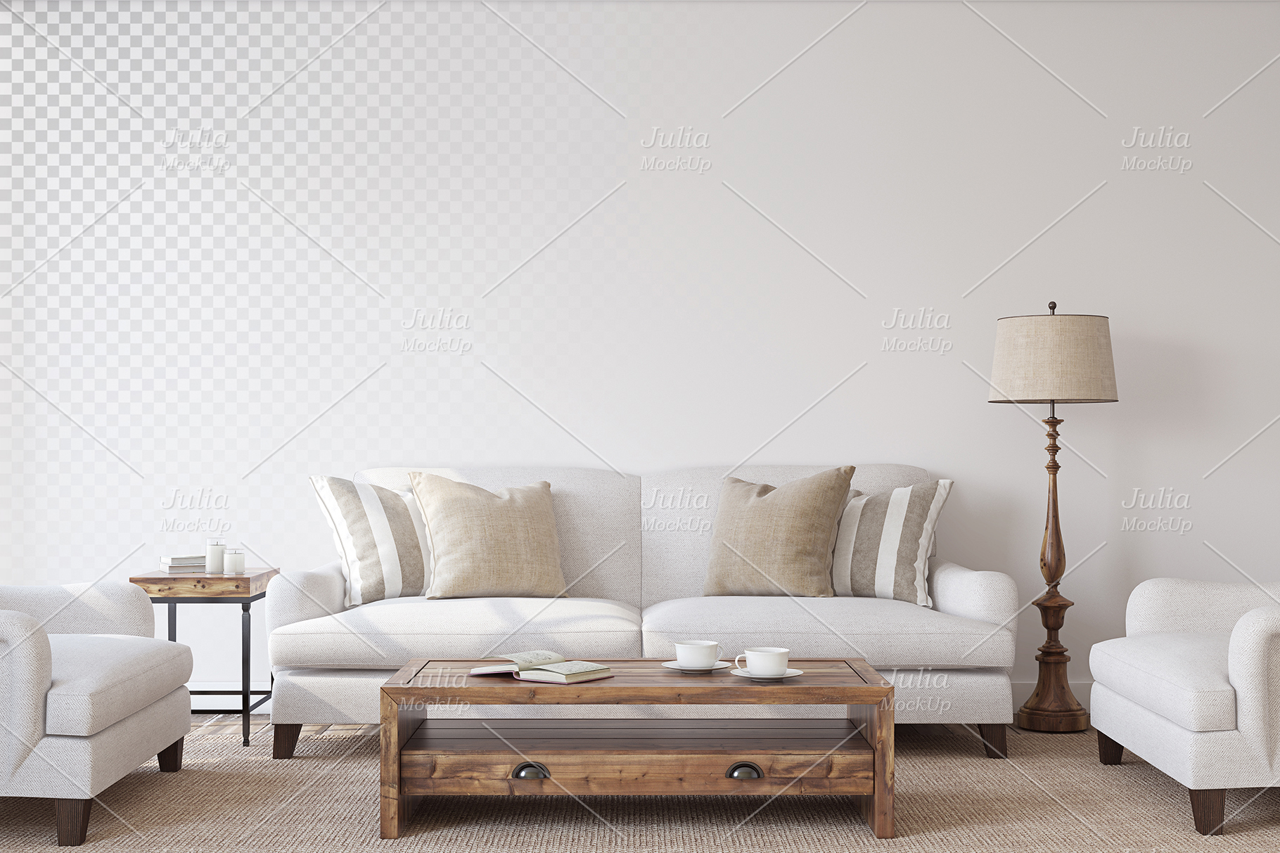 Living-room interiors. Wall&Frames Mockup. example image 6
