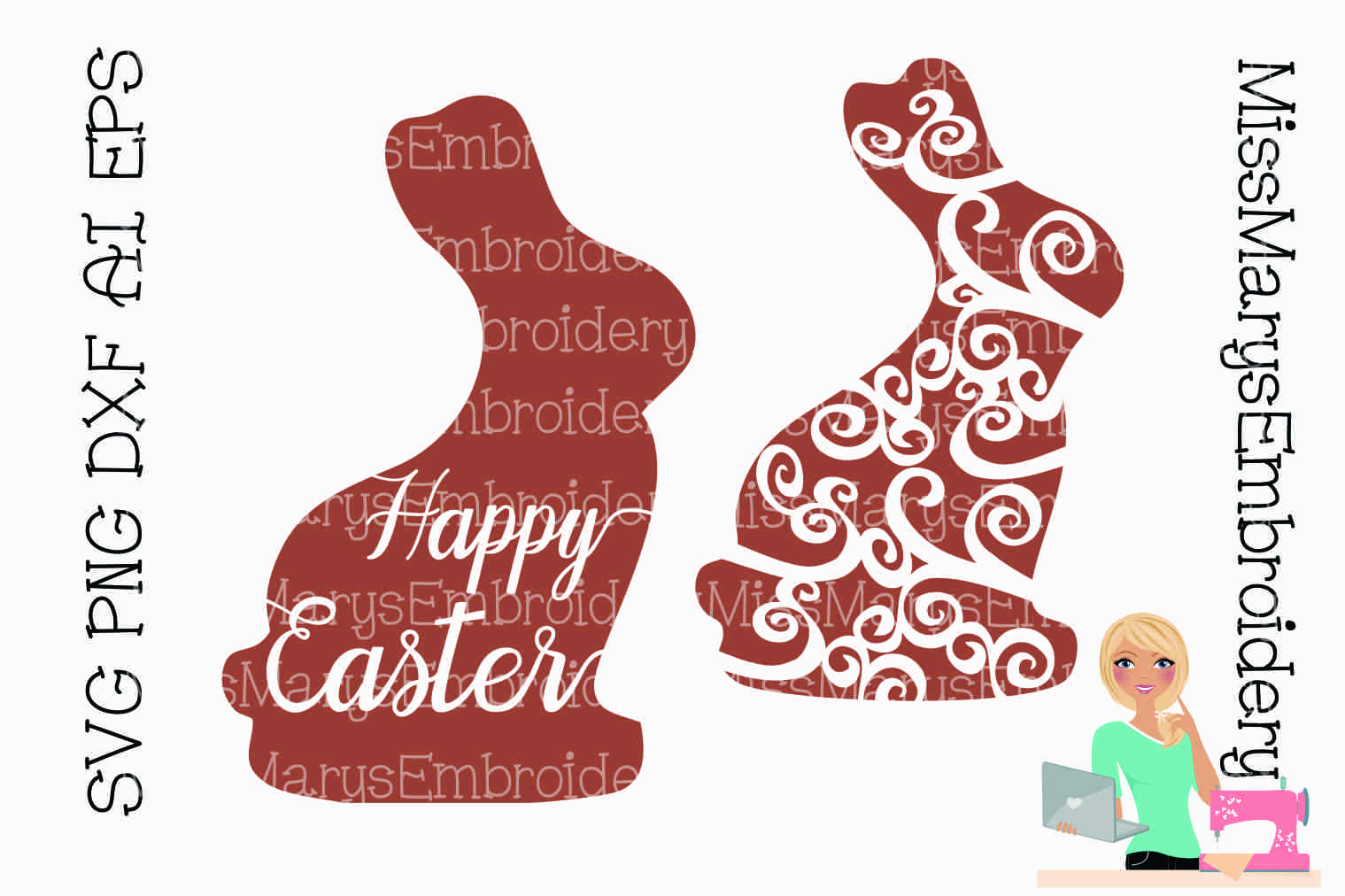 Easter Bunny Swirls SVG Cutting File PNG DXF AI EPS example image 1