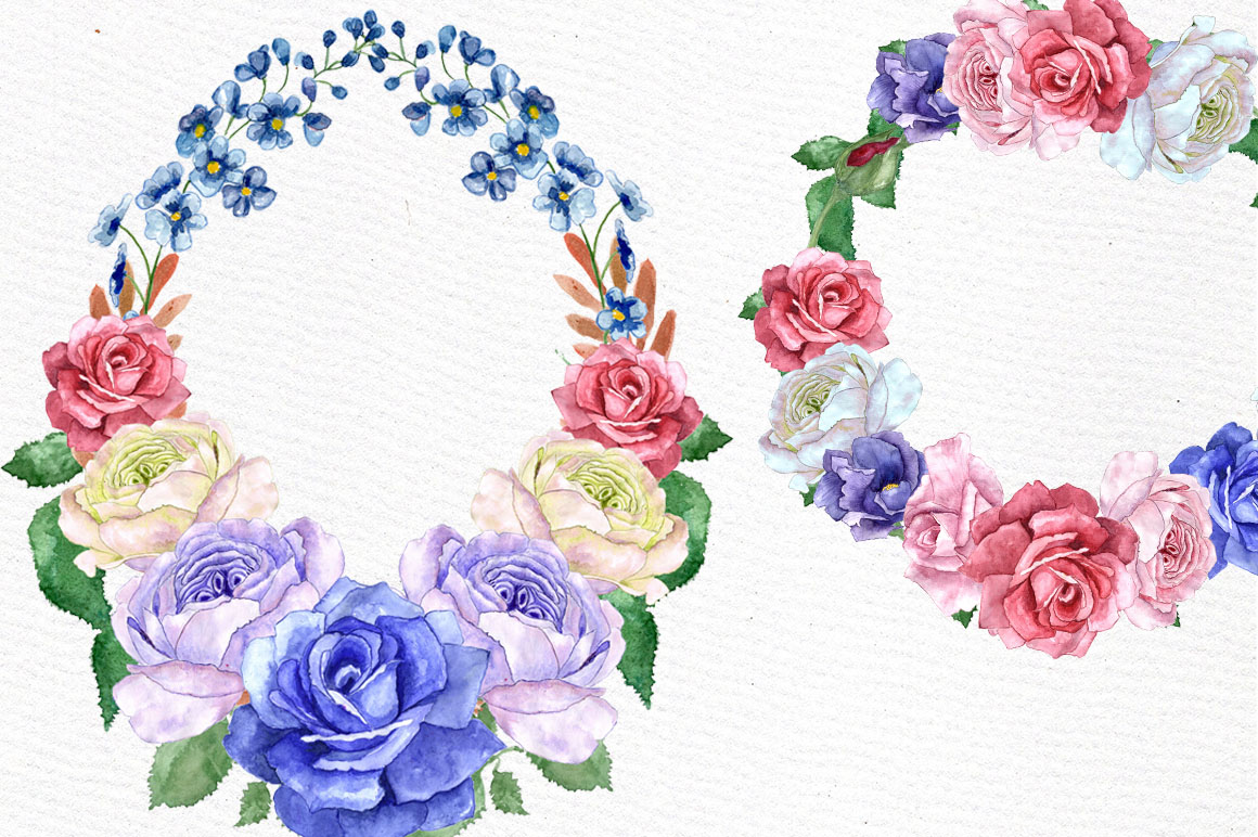 Watercolor wreaths clip art example image 2