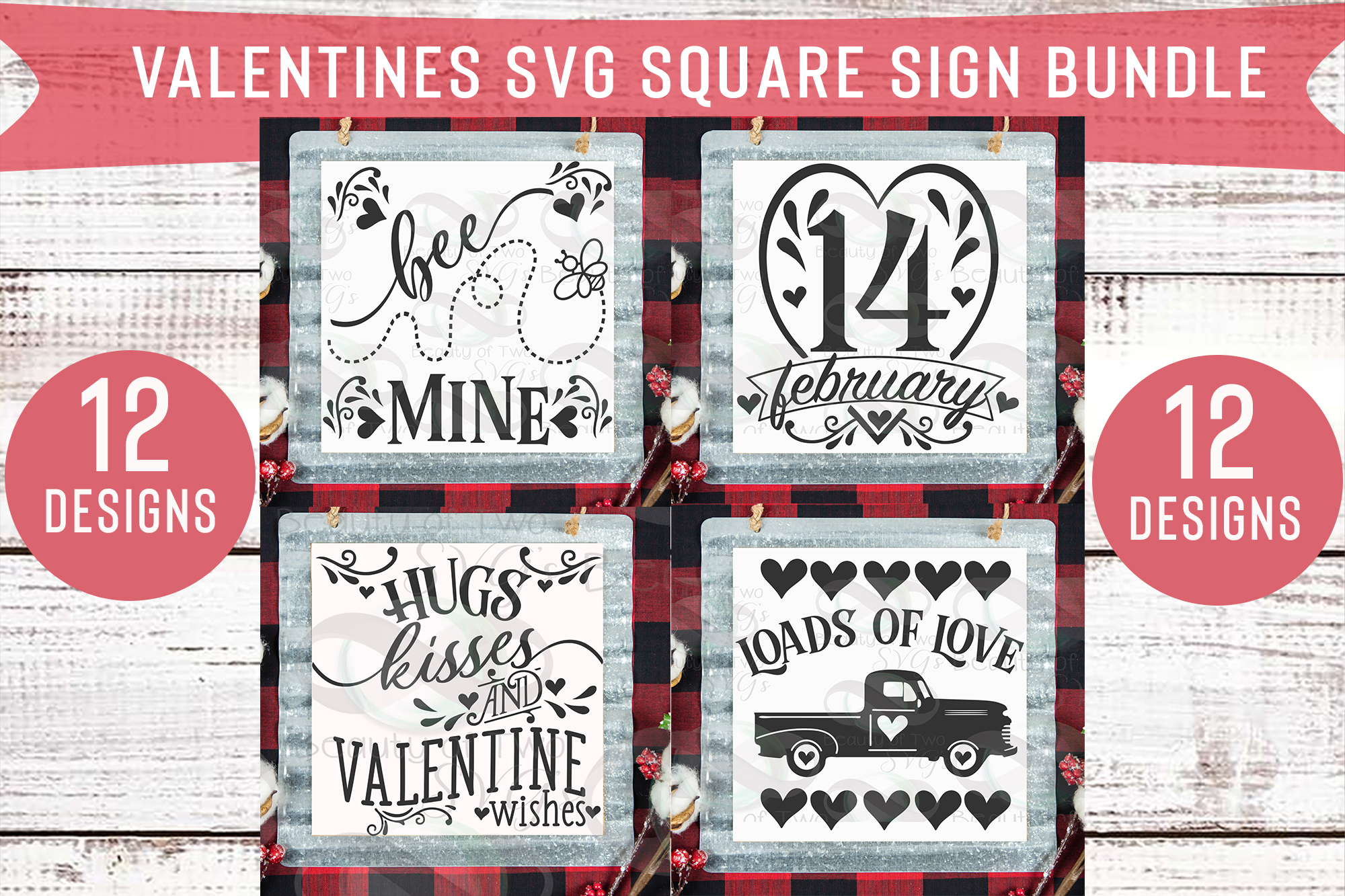Valentines Square Svg Sign Bundle, 12 svg Valentines Designs example image 2