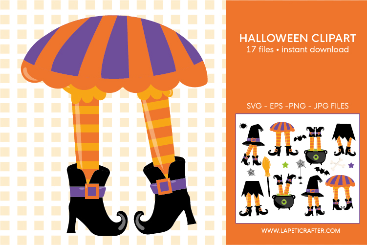 Halloween witch legs clipart, wicked witch party decorations example image 6