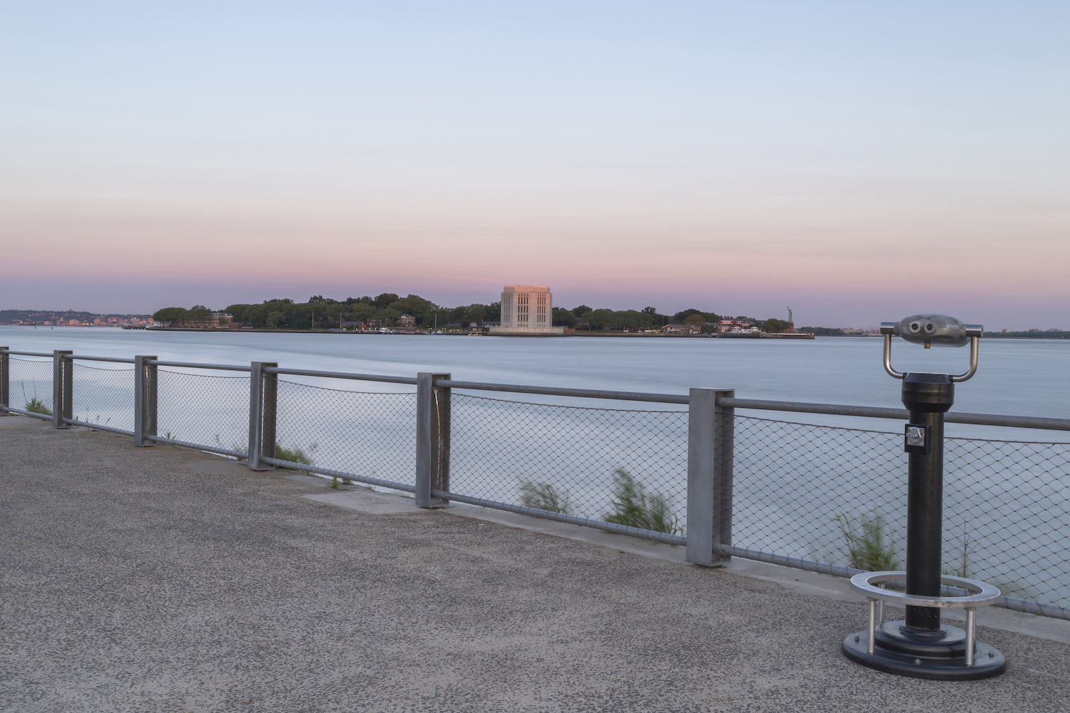 View on Governor island from the pier at sunrise example image 1