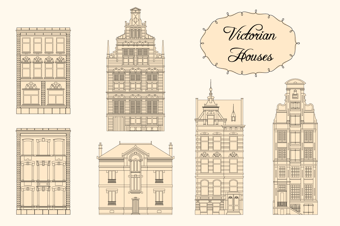 Victorian Houses. Objects and patterns example image 4