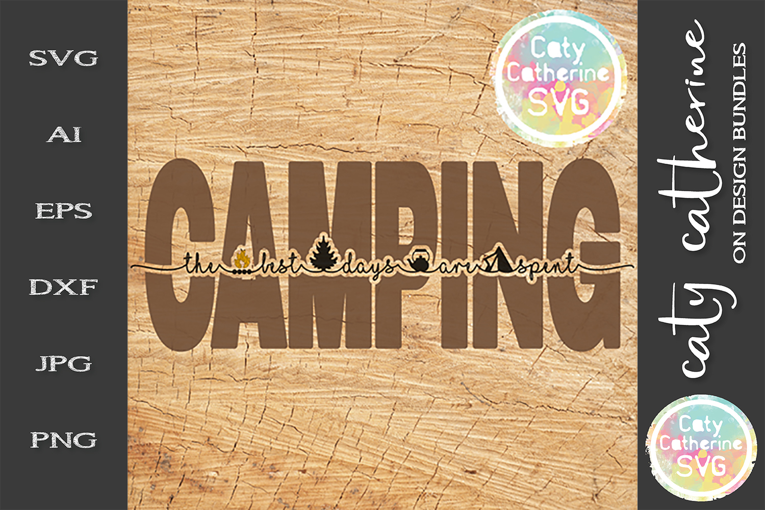 The Best Days Are Spent Camping SVG Cut File example image 1