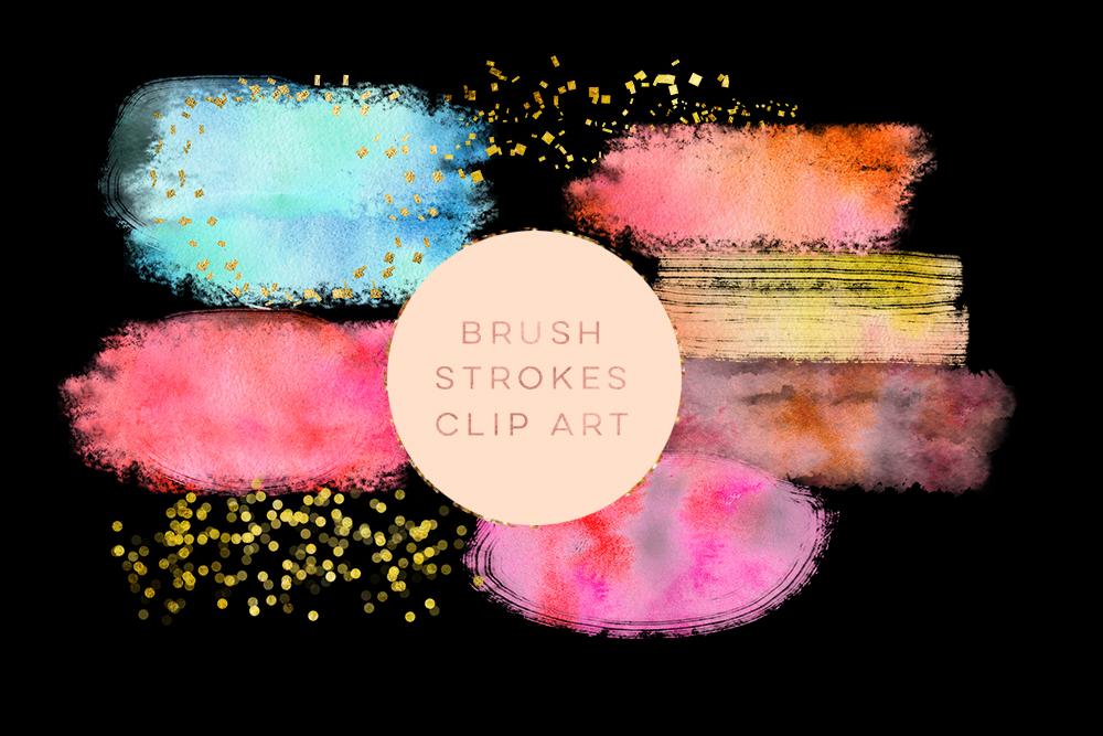 Watercolor Glitter Brushes Stroke, Watercolor Paint Splotch, Digital Watercolor Splotch, pink paint clipart, gold glitter paint clipart example image 2