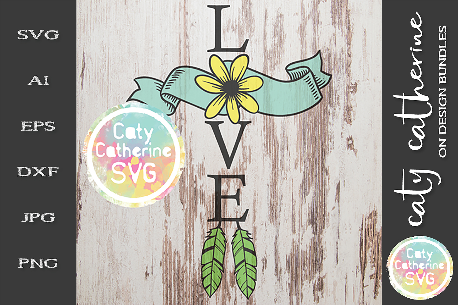 Love Cross Feather Sunflower SVG Cut File example image 1