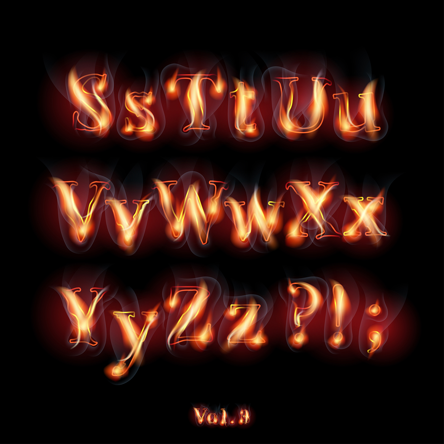 Fire burning alphabet and numbers example image 4