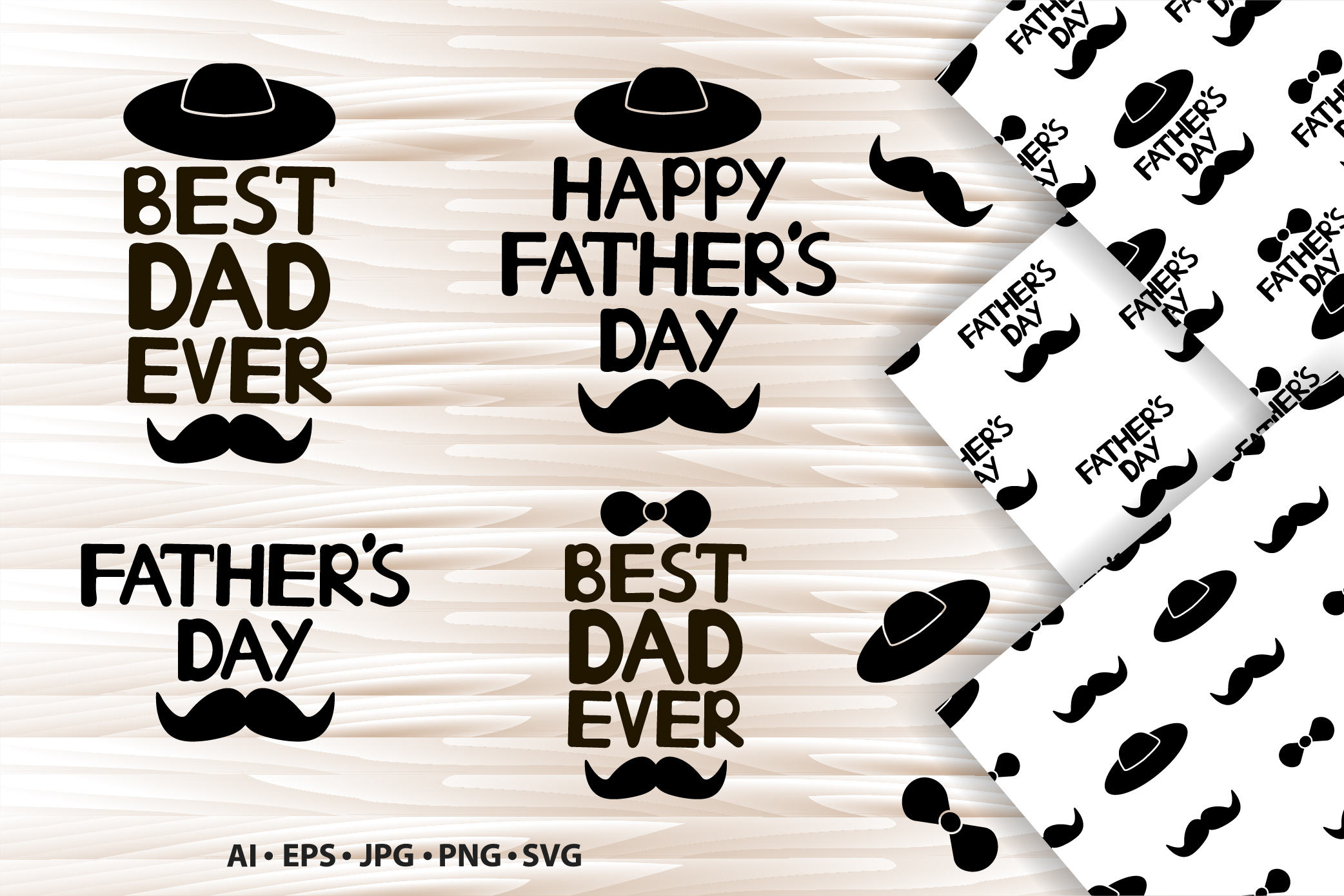 Father's day. Set with quotes, icons and digital paper. example image 1