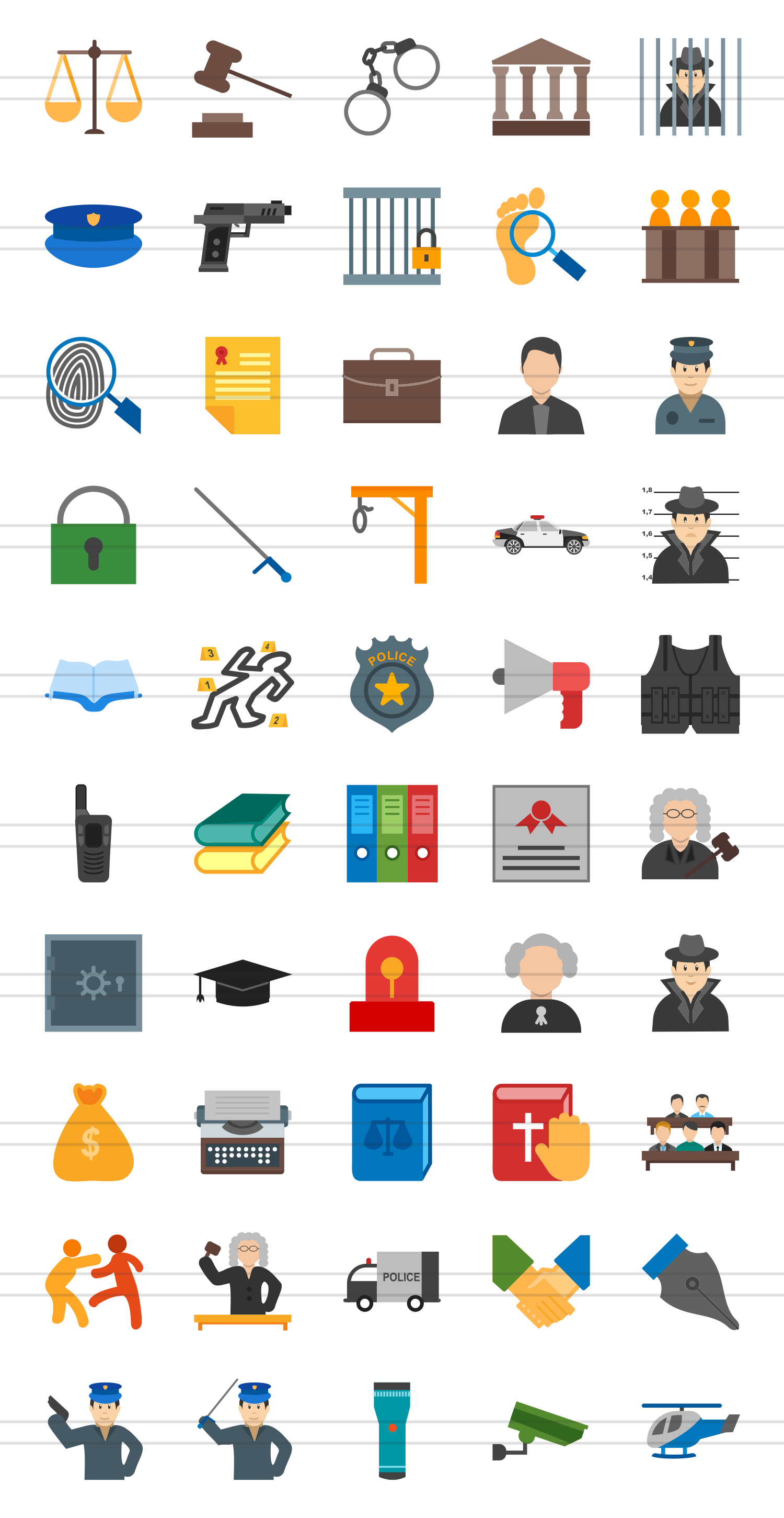 50 Law & Order Flat Multicolor Icons example image 2