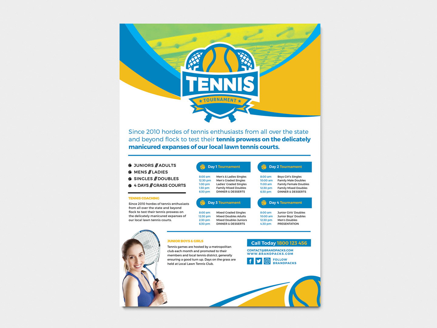 A4 Tennis Tournament Poster Template example image 2