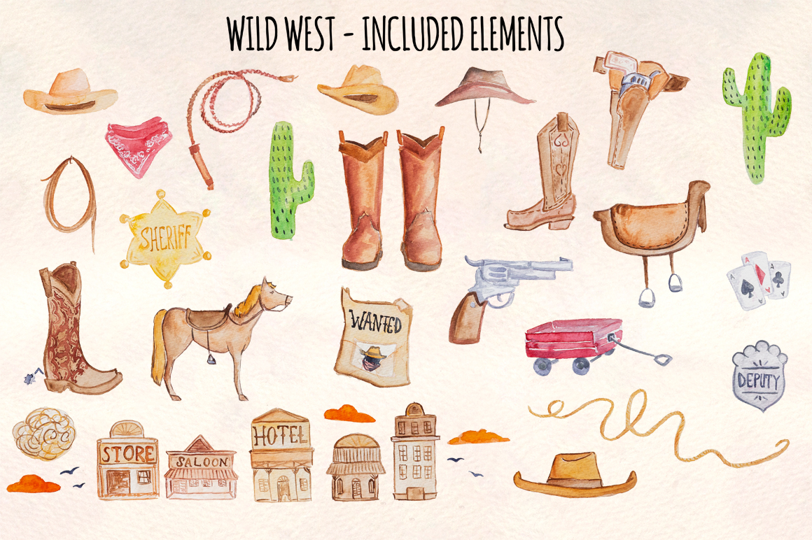 Wild West 33 Cowboy Watercolour Graphics Kit example image 1