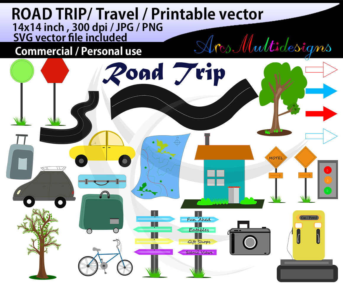 hand drawn clipart svg / summer clipart svg / hand drawn Road Trip clipart svg / Commercial Personal use / cycle clipart / signals / isolated clipart example image 1